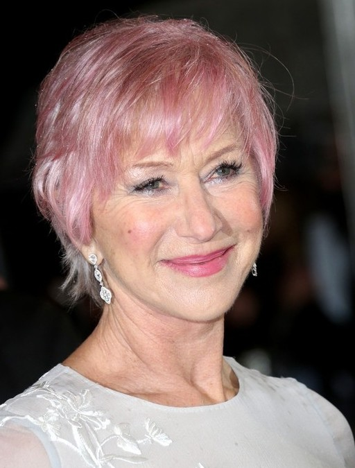 Helen Mirren Short Pink Haircut With Bangs For Women Over