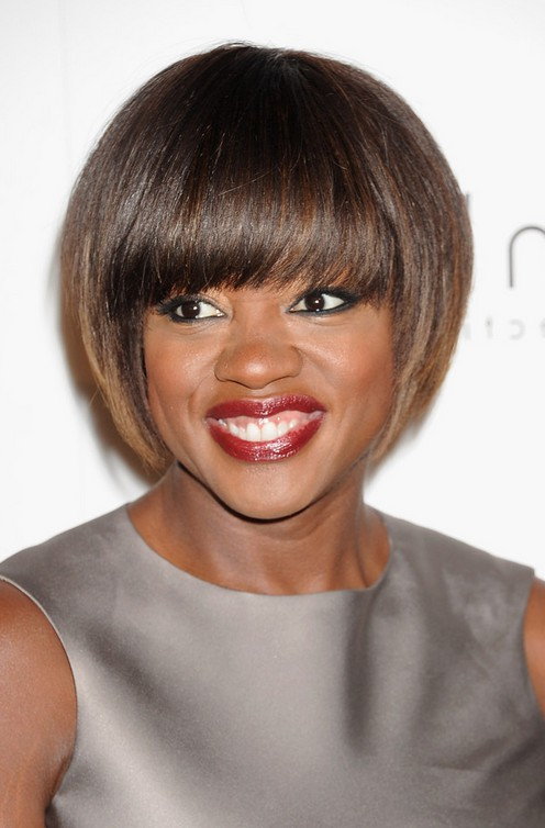 viola davis short straight bob haircut with blunt bangs