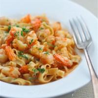 Shrimp Pasta with Creamy Bisque Sauce