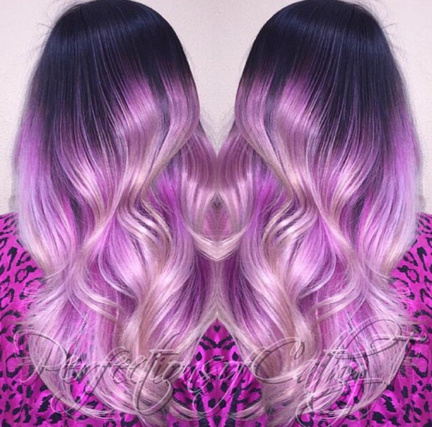 Pastel dark to purple ombre hair for long wavy hair