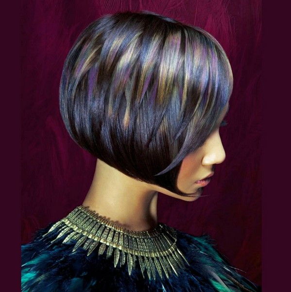 cool colred short bob haircut with layers