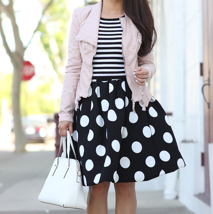 Stripes, polka dots and blush faux leather jacket Stylish Petite - stripes with polka dots