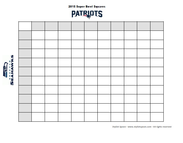 DIY  2015 Super Bowl Football Betting Squares {Free Printable
