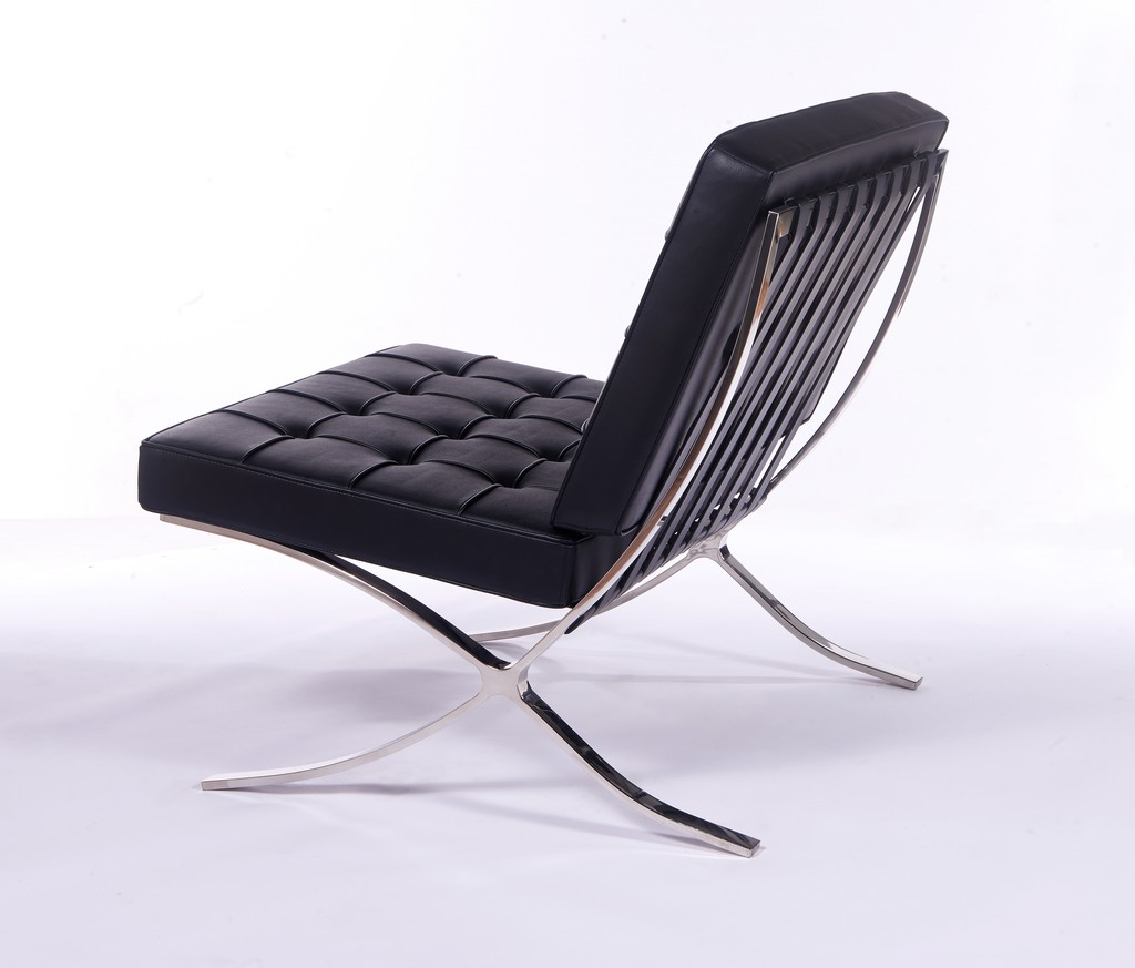 Barcelona Style Black Chair And Ottoman Inspired By Mies Van Der Rohe
