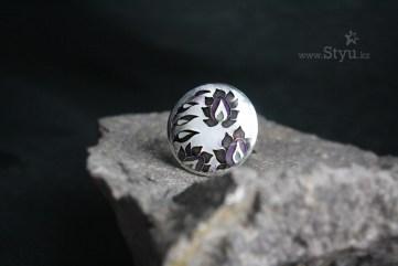 Графичный чертополох. Колючка. Серебряное кольцо с горячей эмалью. Made in Kazakhstan