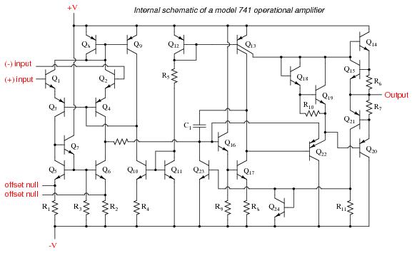 schematic diagram of a model 741 opamp