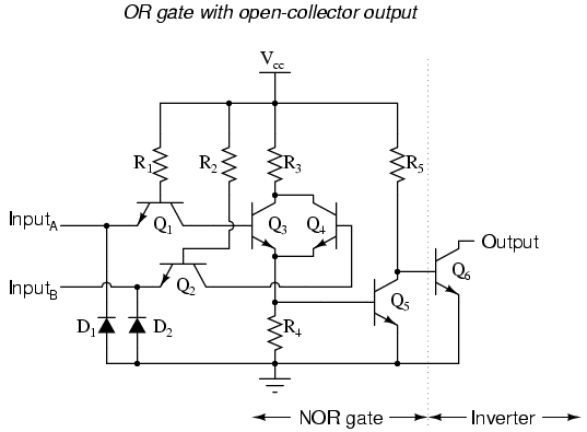 schematic diagram of a ttl nor gate