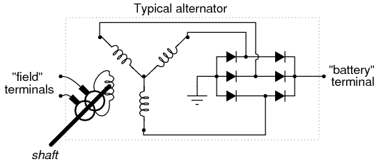 schematic diagram of alternator wiring