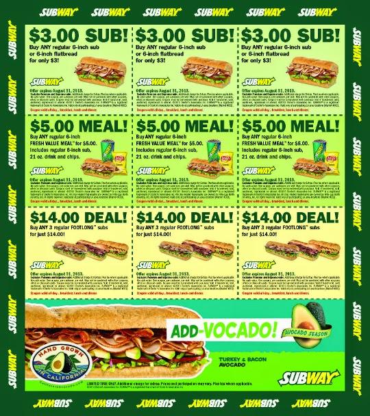 2018 January Subway Coupons Subway Coupons
