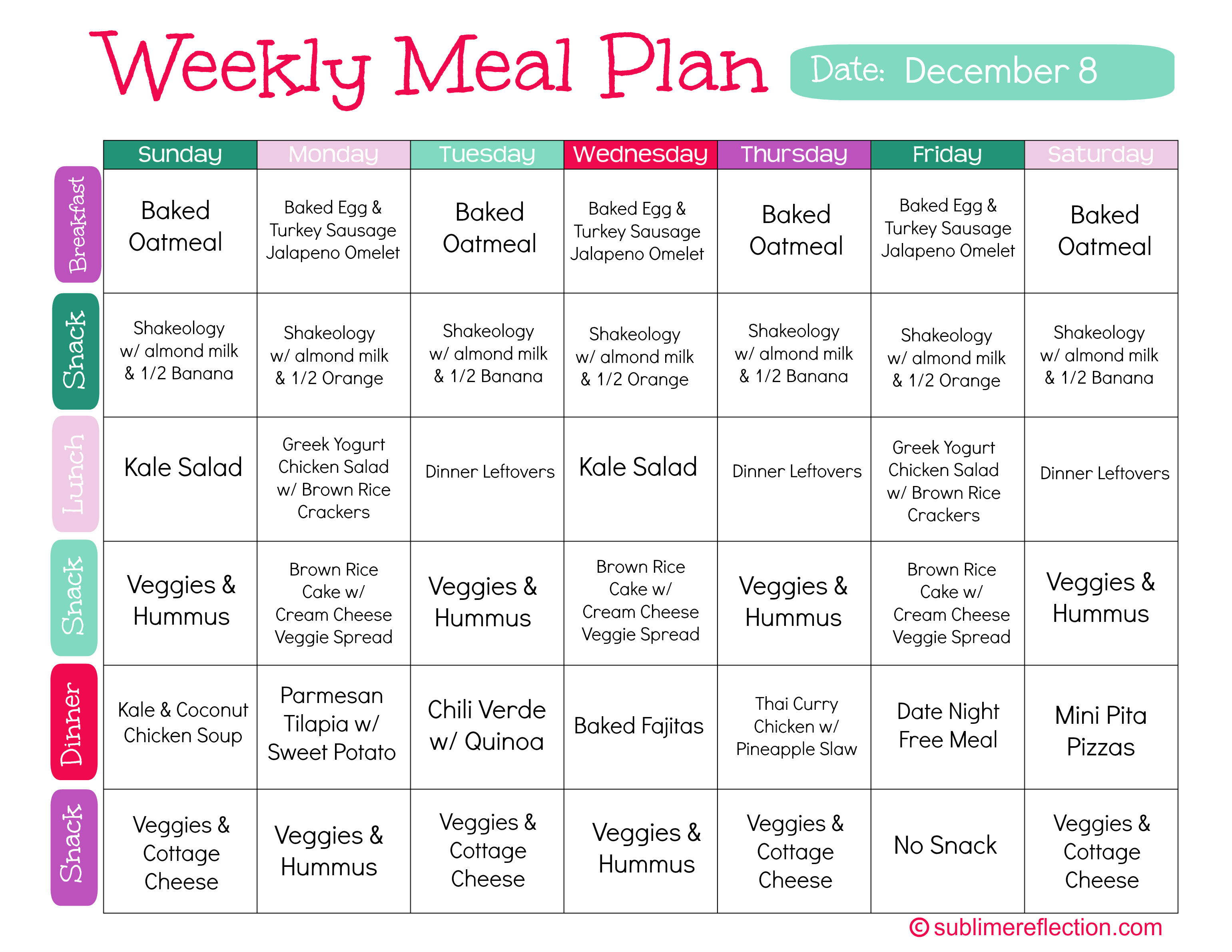 Clean Eating Meal Plan 1 Sublime Reflection – Meal Calendar
