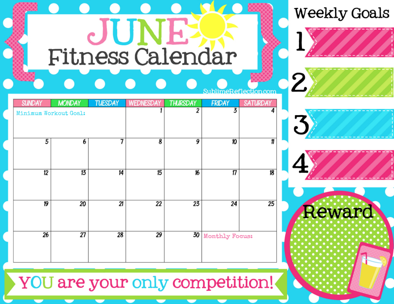 June Fitness Calendar - Sublime Reflection - Free Fitness Journal Printable