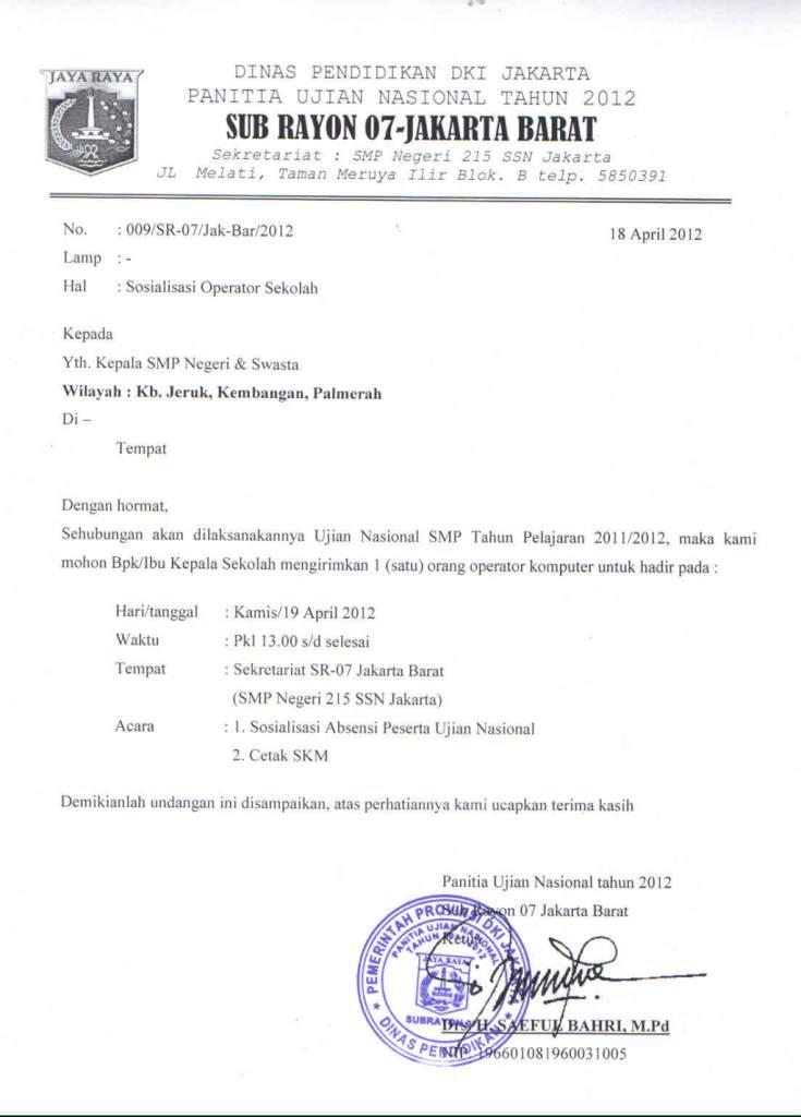 contoh undangan osis untuk guru contoh isi undangan
