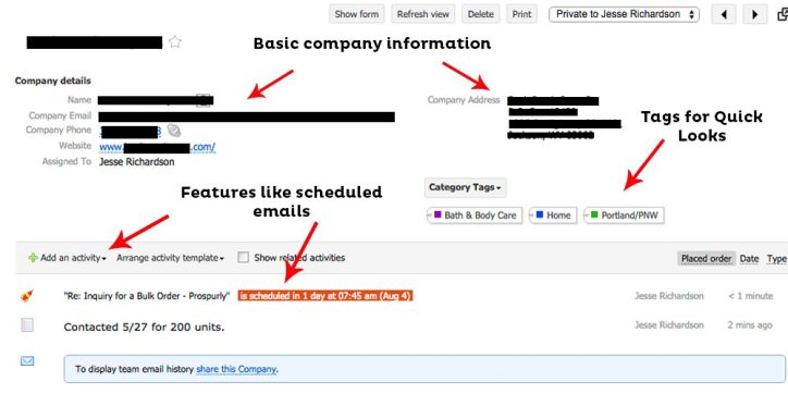 CRM Contact Page