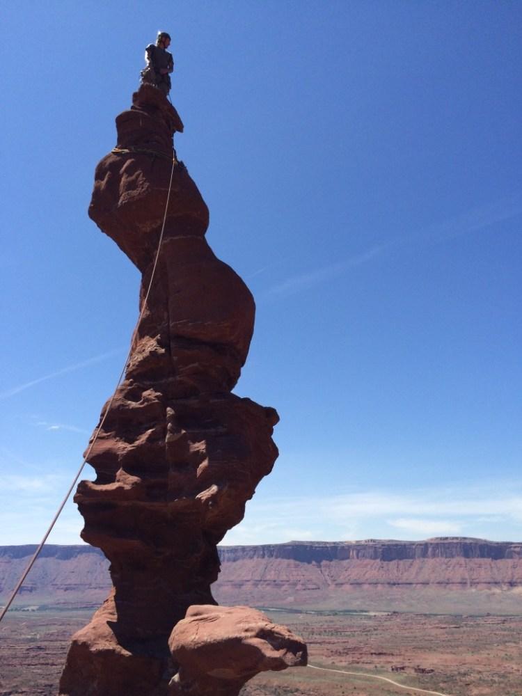 Mario Rossi on top of Ancient Art in Moab, Utah. Photo: Phoenix Multisport