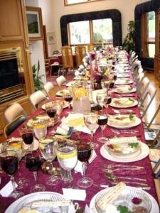 Passover table setting for 50