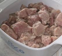Marinated cubed  pork