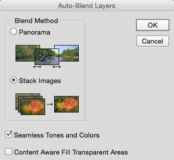 auto blend dialog box