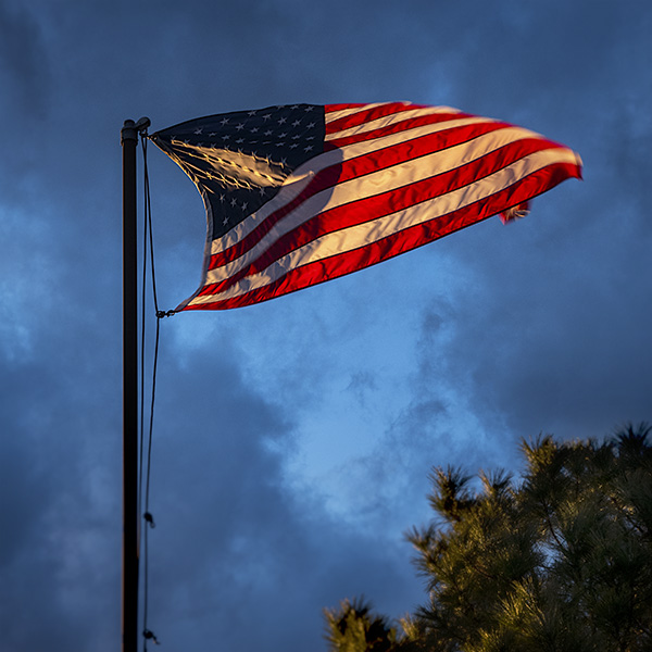 us flag at sunset photo
