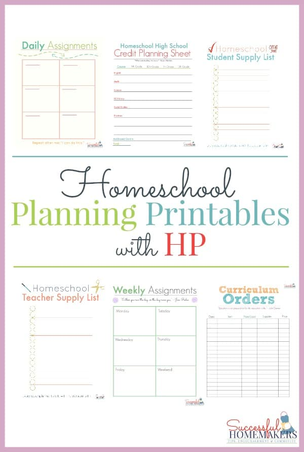 Homeschool Planning Printables with HP - printable assignment sheet