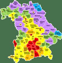 Bayern Karte und Bayerns Regierungsbezirke