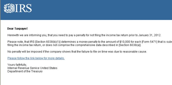 ... IRS Tax Notification SCAM SPAM   Irs Complaint Form ...