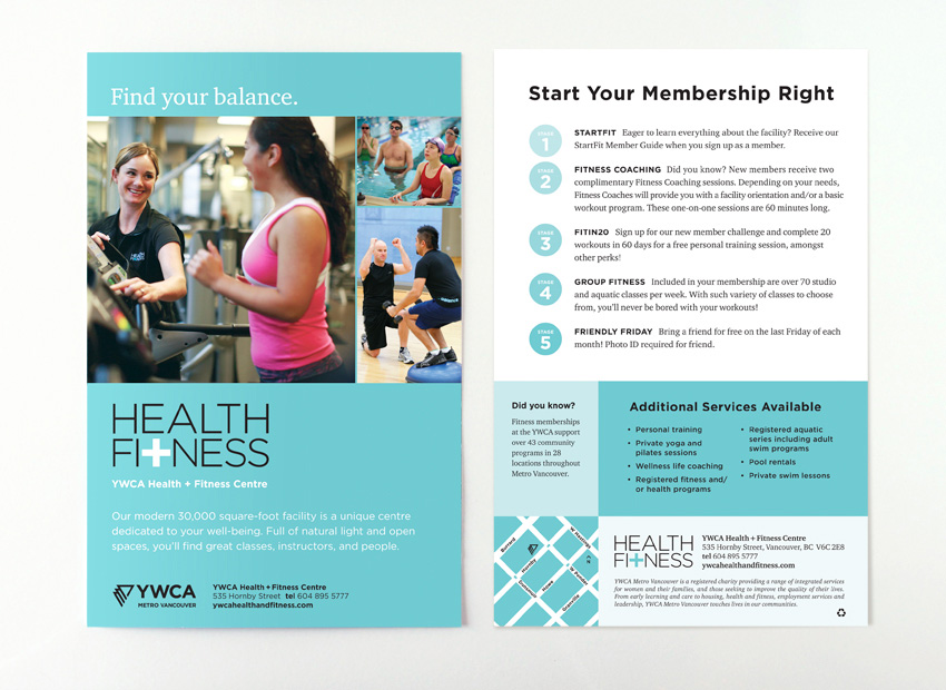 YWCA Health + Fitness Centre - Sue Ward Design Graphic Design - Fitness Brochure