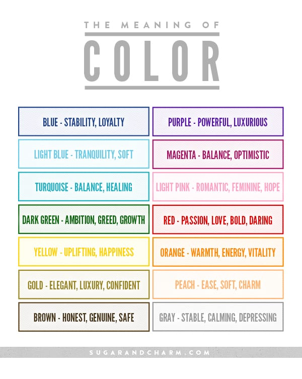 The Meaning of Color Chart - Sugar and Charm Sugar and Charm