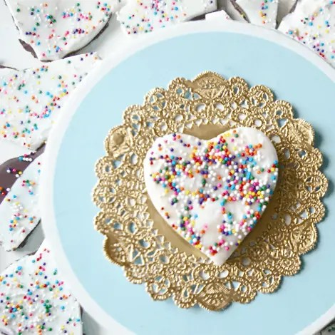 heart shaped cake batter bark recipe from sweetapolita