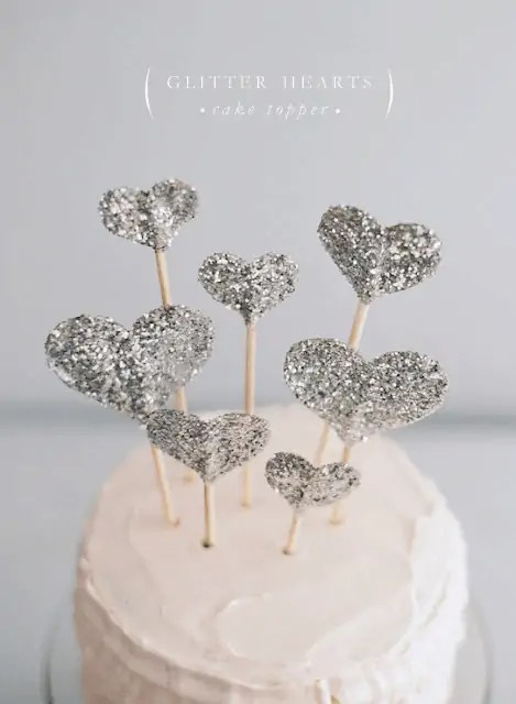 DIY classy glitter heart cake topper wedding