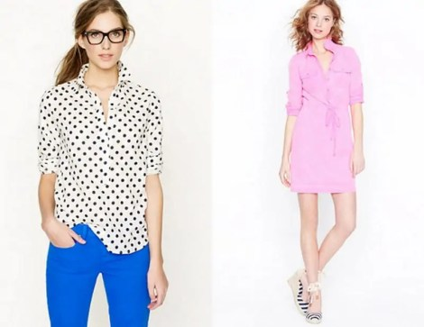 jcrew looks we love polka dot and pink dress