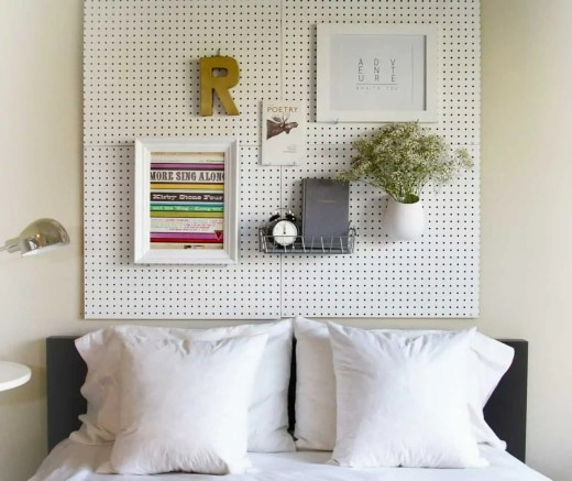 Unique Headboard Ideas Bedroom with Pegboard Headboard with White Pillows and Eclectic Accents