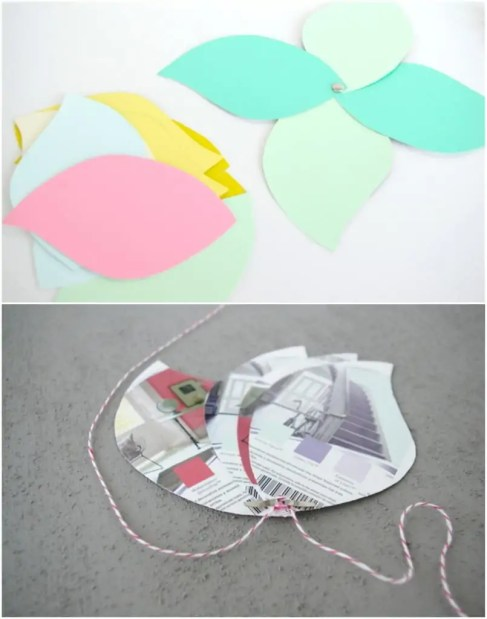 making flower garland from paint swatches