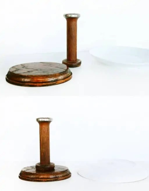 DIY cake stand from vintage spools