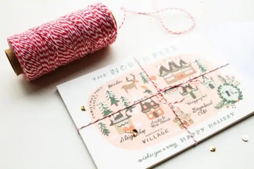 twine wrapped Rifle Paper Co. postcards