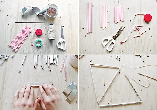 DIY hanging diamond decor