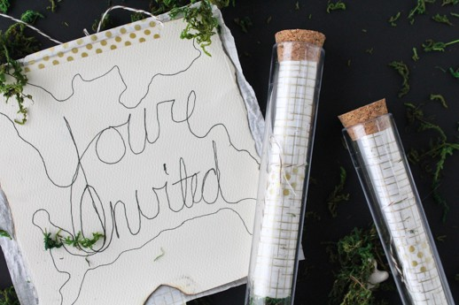 DIY test tube party invitations by Sugar & Cloth