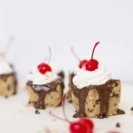 Frozen chocolate chip cookie dough sundaes!
