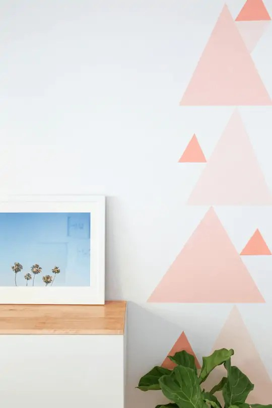 diy geometric accent wall sugar cloth