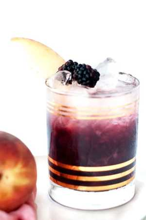 Peach and Blackberry Bramble Cocktail Recipe | Sugar & Cloth ...