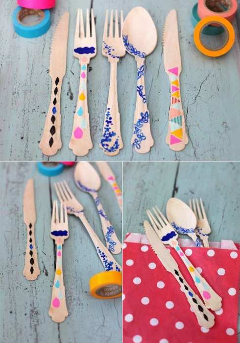 DIY washi tape utensils