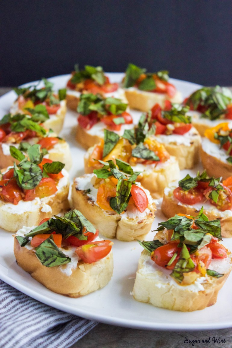 Garlic, Tomato and Basil Goat Cheese Crostini | Sugar and Wine