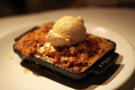 butterscotch bread pudding with house made caramel ice cream