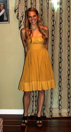 gold anthropologie dress