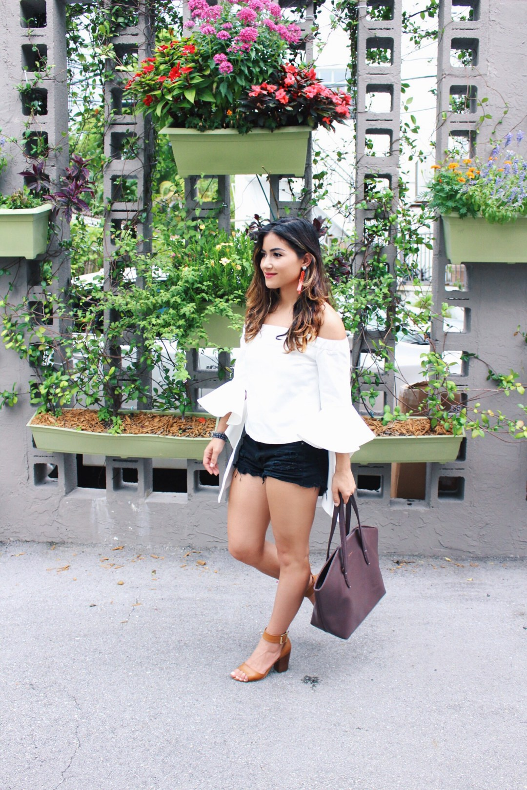White Off the Shoulder Top with Ruffles Sleeves styled by Fashion Blogger.