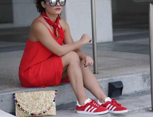 How to wear a dress with sneakers.