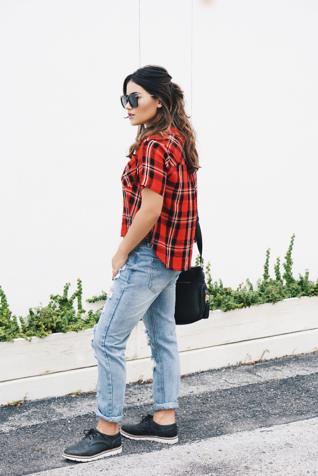 Plaid and Denim Outfit