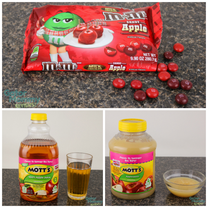Candy apple M&Ms, Mott's Apple Juice and Mott's Applesauce #FlavorofFall #shop