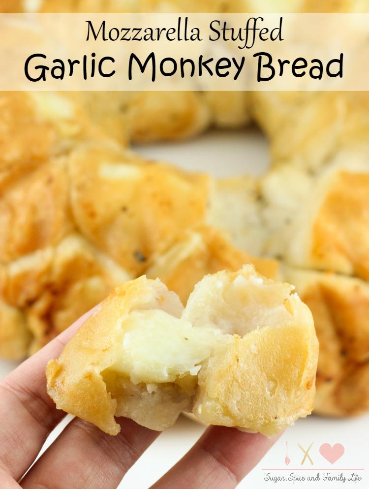 Mozzarella Stuffed Garlic Monkey Bread Recipe Sugar