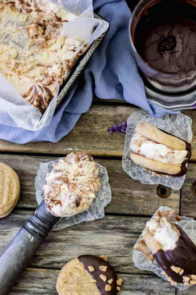 Peanut Butter Chocolate Swirl Ice Cream Sandwiches