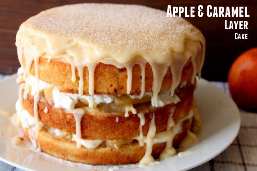 apple and caramel layer cake